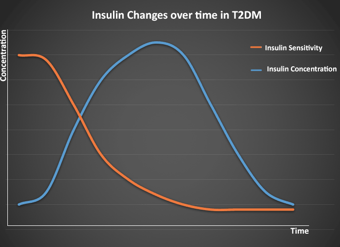 "Insulin changes over time - from normal insulin sensitivity on the right, through ""insulin resistance"" in the middle, and the states of insulin production and sensitivity in established T2DM on the right"